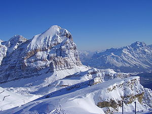 Wiew of monut Tofana from the top of mount Lagazuoi, Cortina d'Ampezzo, Italy.