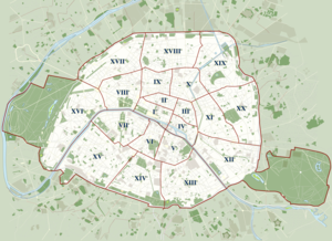 Boulevards of the Marshals - Map of Paris showing its arrondissements