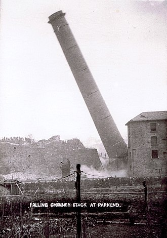 Parkend Ironworks - The chimney stack being felled in 1908.