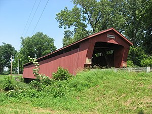 National Register of Historic Places listings in Wyandot County, Ohio - Image: Parker Covered Bridge, southwestern angle