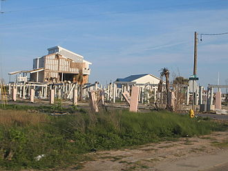 Effects of Hurricane Katrina in Mississippi - Surge damage in Pascagoula, Mississippi.
