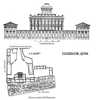 Pashkov House - Façade and plan of the house