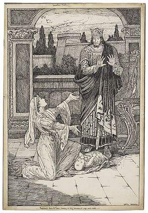 The Winter's Tale - An ink drawing of Act II, Scene iii: Paulina imploring Leontes to have mercy on his daughter, Perdita. Illustration was designed for an edition of Lamb's Tales, copyrighted 1918.