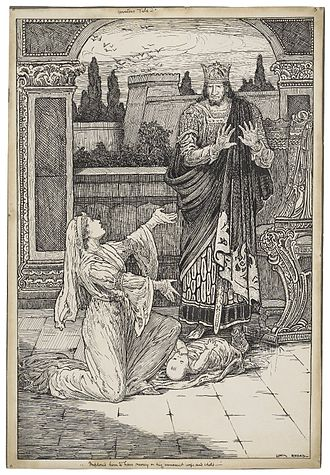 Leontes - An ink drawing of Act II, Scene iii of The Winter's Tale: Paulina implores Leontes to have mercy on his daughter, Perdita. Illustration was designed for an edition of Lamb's Tales, copyrighted 1918.
