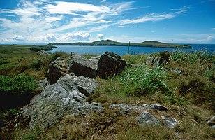 Küste bei St. David's mit Ramsey Island, der nördlichen Begrenzung der St. Brides Bay