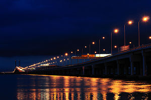 Penang Bridge - Night view of Penang Bridge.