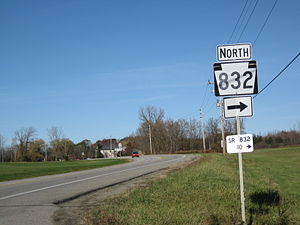 Pennsylvania Route 832 - PA 98 in Fairview Township approaching the intersection with PA 832's southern terminus
