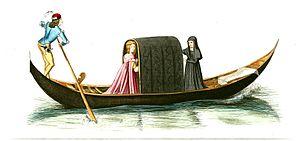 People on a Gondola - Man (gondolier) and Women.JPG