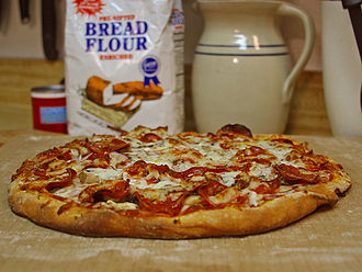 Pizza in the United States - Pepperoni is one of the most popular toppings for pizza in the United States.