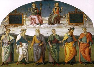 Prudence et Justice avec six sages antiques