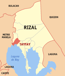Map of Rizal showing the location of Taytay
