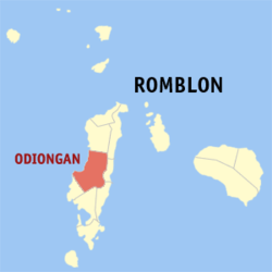 Map of Romblon with Odiongan highlighted