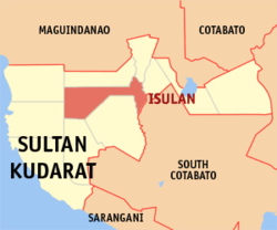 Map of Sultan Kudarat showing the location of Isulan.