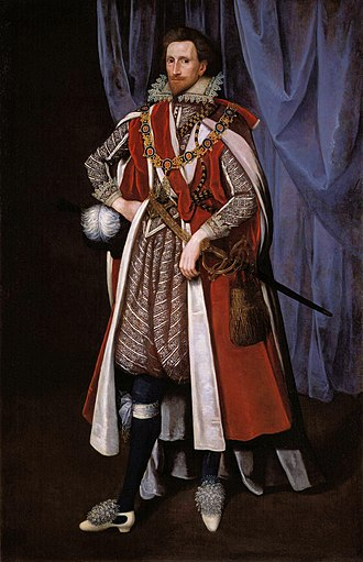 Philip Herbert, 4th Earl of Pembroke - Philip Herbert, 4th Earl of Pembroke, in the robes of the Order of the Garter c. 1615.  Unknown artist, National Portrait Gallery, London.
