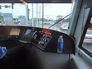 Valley Metro Rail - A driver waits for the light to turn green.