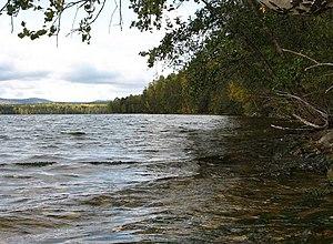 Ilmen Nature Reserve - Ilmen Reserve (left distance) is on the west shore of Lake Bolshoy Kisegach
