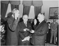Photograph of W. Averell Harriman taking the oath of office as Director of the Mutual Security Agency in the Oval... - NARA - 200361.tif