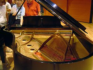 Piano acoustics - Strings vary in length and thickness, so that many octaves can fit on one sounding board
