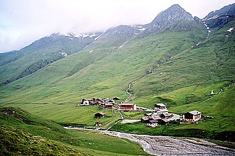 Avers Rhine - The source of the Jufer Rhine at Juf, the highest situated permanently inhabited settlement in Europe