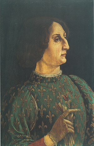 Zanetto Bugatto - Portrait of Galeazzo Maria Sforza by Piero Pollaiuolo in the Uffizi Galleries.