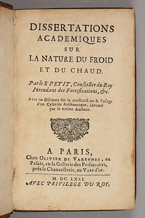 Pierre Petit (engineer) -  Dissertations académiques sur la nature, 1671