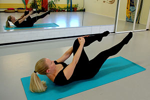 Pilates - One leg stretch, classic Pilates movement