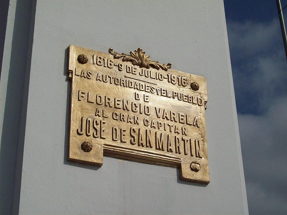 Placa a José de San Martín