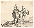 Plate 14- a young peasant woman and her child sitting side saddle atop a horse in center, another peasant woman to right, holding a large bag in her left arm, from 'Diversi capricci' MET DP833179.jpg