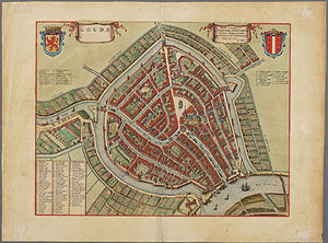 Gouda, South Holland - City centre of Gouda in 1650, by Joan Blaeu
