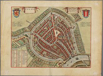 Joan Blaeu - Image: Plattegrond van de stad Gouda binnen de singels, ca. 1650