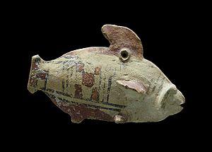 Amathus - Fish, polychromic terracotta, 5th century BCE, found in Amathus