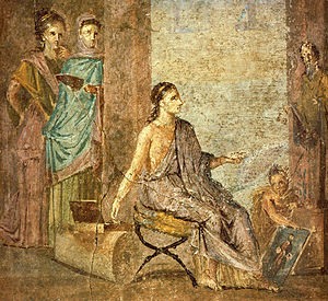 Priapeia - Woman painting a statue of Priapus, from a fresco at Pompeii