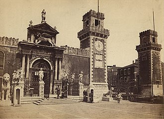 Venetian Arsenal - Entrance to the Arsenale. Ca. 1860/70. Photo by Carlo Ponti.