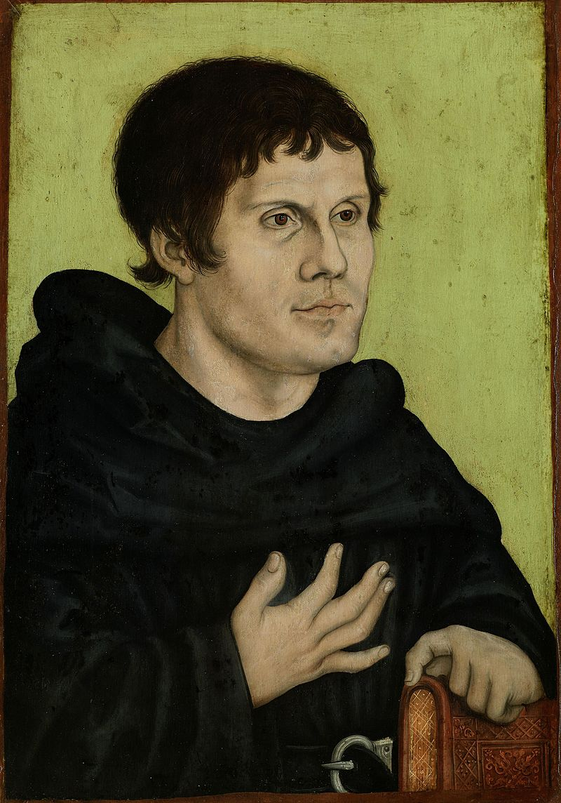 Portrait of Martin Luther as an Augustinian Monk, by the workshop of Lucas Cranach the Elder, 1546. (via Wikimedia Commons)