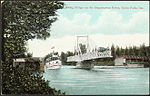 Post card of a steamship crossing past a swing bridge on the Magnetawan River, near Burks's Falls1910.jpg