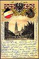 Präge Wappen Ak Düsseldorf, Blick in die Oststraße, gelaufen 1901, Ecken bestoßen, sonst guter Zustand-Vorderseite.jpg