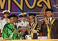 Pranab Mukherjee being presented the degree of Doctor of Laws Honoris Causa by the Chancellor of University of Dhaka and President of Bangladesh, Mr. Md. Zillur Rahman during the 47th Convocation of Dhaka University.jpg