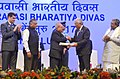 Pranab Mukherjee conferring the Pravasi Bhartiya Samman Award on the Prime Minister of Portuguese Republic, Mr. Antonio Costa, at the 14th Edition of the Pravasi Bharatiya Divas (PBD-2017) convention, in Bengaluru, Karnataka.jpg