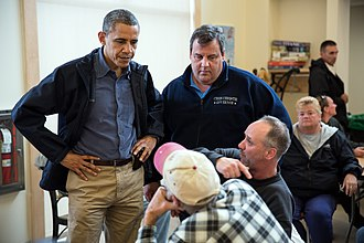 Governorship of Chris Christie - President Barack Obama and Governor Chris Christie talk with local residents in Brigantine, New Jersey.
