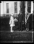 President Hoover buys his supply of Xmas seals from youthful health crusader. Little Jacqueline Krah, health crusader, called at the White House today and sold President Hoover a supply of LCCN2016889529.jpg