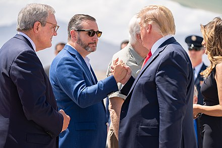 Cruz and President Donald Trump in 2019 President Trump and the First Lady in El Paso, Texas (48485015661).jpg