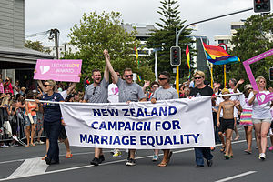 Same-sex marriage in New Zealand - Pride Parade in Auckland in February 2013