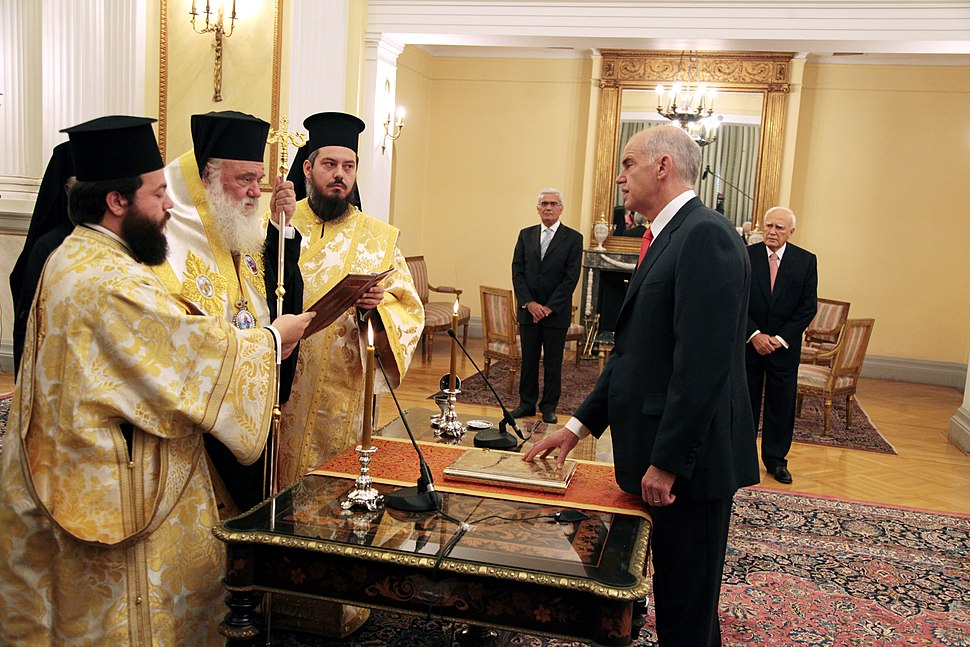 Prime Minister of Greece George Papandreou taking his Oath of Office - 2009Oct06.jpg