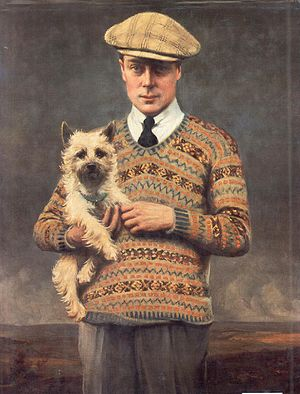Fair Isle (technique) - HRH Edward, Prince of Wales in a Fair Isle pullover