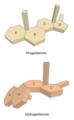 Progesterone and dydrogesterone 3D chemical structures comparison.png