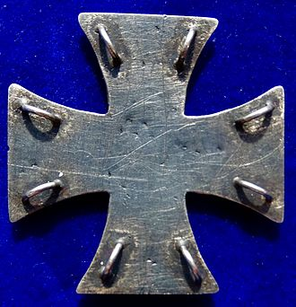 Iron Cross - Reverse side of the above cross showing eight metal loops for stitching the award to the left side of the uniform breast