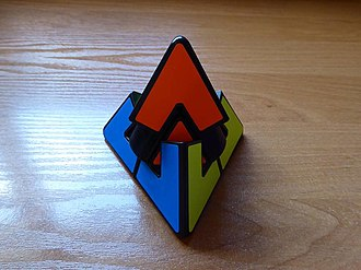 Pyraminx Duo - The Pyraminx Duo in the middle of a twist, showing how the puzzle can be scrambled.