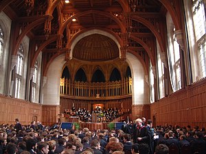 Queen Elizabeth's Hospital - The 2004 Prize Giving ceremony at the Wills Memorial Building. The boarders and prefects can be seen in their bluecoat uniforms at the centre of the picture.