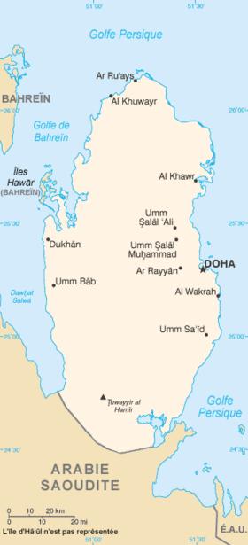 carte: Géographie du Qatar