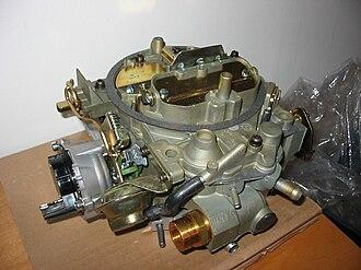 Quadrajet - A Quadrajet M4ME carburetor with electric choke. The Quadrajet went through several changes in its lifetime.